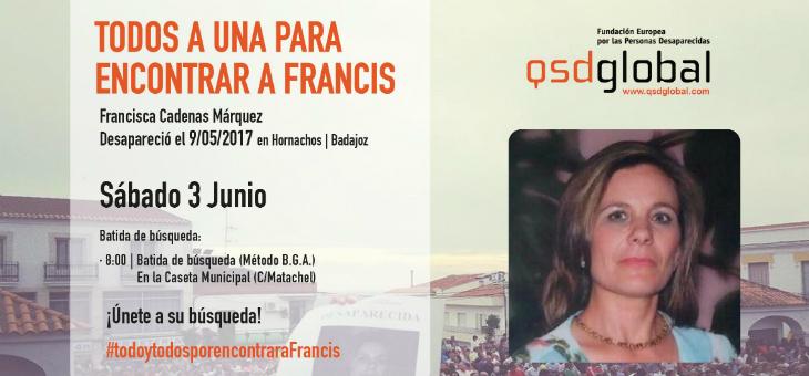 La Fundación QSDglobal organiza una nueva batida este sábado en Hornachos en busca de Francisca Cadenas