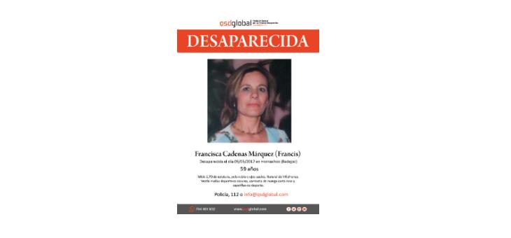 Cerca de 200 personas buscarán este sábado a Francisca Cadenas, desaparecida en Hornachos el pasado 9 de mayo