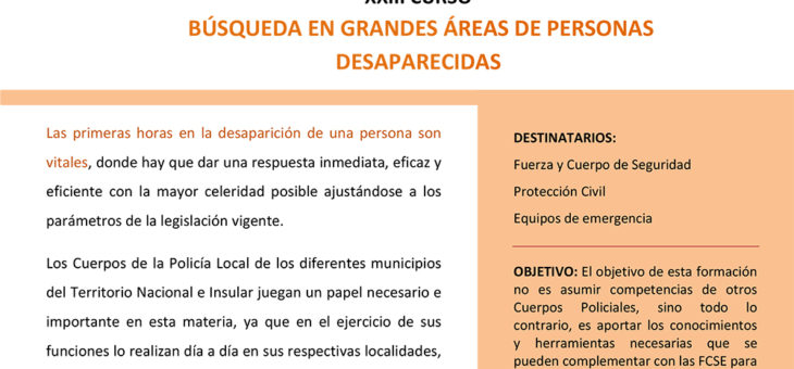 XXIII Curso Búsqueda en Grandes Áreas de personas desaparecidas